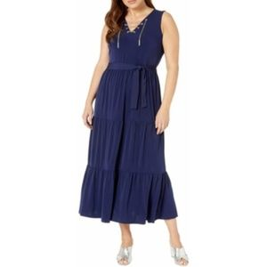 Michael Kors Plus Size Chain Lace-Up Maxi Dress